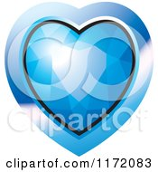 Clipart Of A Heart Shaped Blue Diamond Or Gemstone With A Frame Royalty Free Vector Illustration