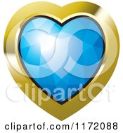 Clipart Of A Heart Blue Diamond Or Gemstone With A Gold Frame Royalty Free Vector Illustration by Lal Perera