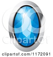 Clipart Of An Oval Blue Diamond Or Gemstone With A Silver Frame Royalty Free Vector Illustration