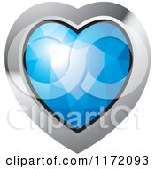 Clipart Of A Heart Blue Diamond Or Gemstone With A Silver Frame Royalty Free Vector Illustration
