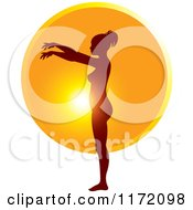 Clipart Of A Pregnant Woman Silhouetted Against The Sun Showing The Growth Of Her Belly Royalty Free Vector Illustration