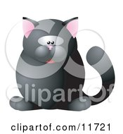 Cute Black Cat With Pink Ears Clipart Illustration