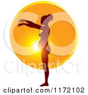 Clipart Of A Pregnant Woman Silhouetted Against The Sun Showing The Growth Of Her Belly 5 Royalty Free Vector Illustration