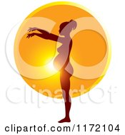 Clipart Of A Pregnant Woman Silhouetted Against The Sun Showing The Growth Of Her Belly 7 Royalty Free Vector Illustration