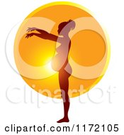 Clipart Of A Pregnant Woman Silhouetted Against The Sun Showing The Growth Of Her Belly 8 Royalty Free Vector Illustration