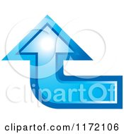 Clipart Of A Blue Arrow Curved And Pointing Up Royalty Free Vector Illustration