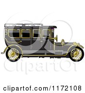 Clipart Of A Vintage Black Car With Gold Trim Royalty Free Vector Illustration by Lal Perera