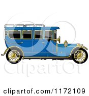 Clipart Of A Vintage Blue Car With Gold Trim Royalty Free Vector Illustration by Lal Perera