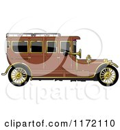 Clipart Of A Vintage Brown Car With Gold Trim Royalty Free Vector Illustration by Lal Perera
