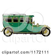 Clipart Of A Vintage Green Car With Gold Trim Royalty Free Vector Illustration