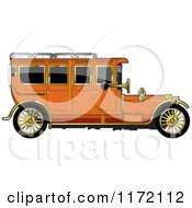 Clipart Of A Vintage Orange Car With Gold Trim Royalty Free Vector Illustration by Lal Perera