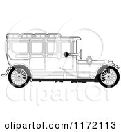 Clipart Of A Vintage Black And White Car Royalty Free Vector Illustration by Lal Perera