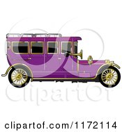 Clipart Of A Vintage Purple Car With Gold Trim Royalty Free Vector Illustration