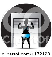Clipart Of A Chubby Woman Opening A Roller Storage Unit Door In A Bikini Royalty Free Vector Illustration
