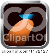 Clipart Of A Square Icon Of A Finger Holding A Contact Lens Royalty Free Vector Illustration
