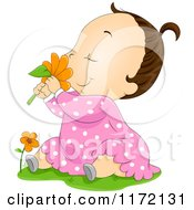 Cartoon Of A Brunette Baby Girl Sitting In Grass And Smelling A Red Daisy Royalty Free Vector Clipart