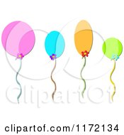 Cartoon Of Colorful Floating Party Balloons With Flowers Royalty Free Vector Clipart