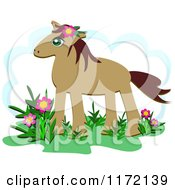 Cartoon Of A Brown Horse With Flowers And A Cloud Royalty Free Vector Clipart by bpearth