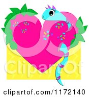 Cartoon Of A Snake Through A Pink Heart With Sprinkles And Leaves On Yellow Royalty Free Vector Clipart by bpearth