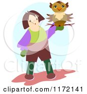 Cartoon Of A Person Holding An Owl On A Branch Royalty Free Vector Clipart by bpearth