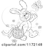Cartoon Of An Outlined Easter Bunny Waving And Carrying A Basket Under A Butterfly Royalty Free Vector Clipart