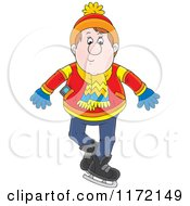 Cartoon Of A Cautious Man Ice Skating Royalty Free Vector Clipart