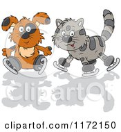 Cartoon Of A Dog And Cat Ice Skating Royalty Free Vector Clipart