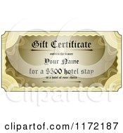 Clipart Of A Golden Gift Certificate With Sample Text Royalty Free Vector Illustration by stockillustrations