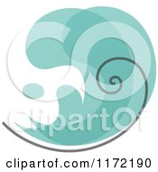 Clipart Of A Turquoise Abstract Wave Royalty Free Vector Illustration