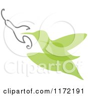 Clipart Of A Green Abstract Hummingbird And Flower Royalty Free Vector Illustration