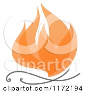 Clipart Of An Orange Abstract Fire Royalty Free Vector Illustration