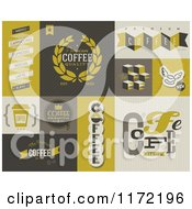 Clipart Of Retro Coffee Badges And Labels Royalty Free Vector Illustration
