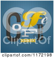 Clipart Of A Premium Coffee Design On Blue Stripes Royalty Free Vector Illustration by elena