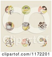 Clipart Of Retro Coffee Icons And Logos On Beige Royalty Free Vector Illustration