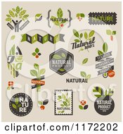 Clipart Of Retro Natural Badges And Labels On Beige Royalty Free Vector Illustration