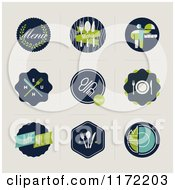 Clipart Of Retro Menu Designs And Badges On Beige Royalty Free Vector Illustration