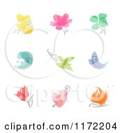 Clipart Of A Colorful Flower Plant Butterfly And Bird Nature Designs Royalty Free Vector Illustration