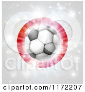 Clipart Of A Soccer Ball Over A Japanese Flag With Fireworks Royalty Free Vector Illustration