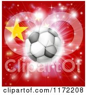 Clipart Of A Soccer Ball Over A Chinese Flag With Fireworks Royalty Free Vector Illustration