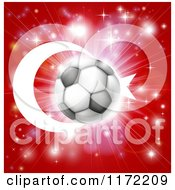 Clipart Of A Soccer Ball Over A Turkey Flag With Fireworks Royalty Free Vector Illustration
