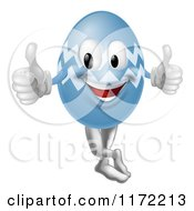 Cartoon Of A Blue Zig Zag Easter Egg Mascot Holding Two Thumbs Up Royalty Free Vector Clipart