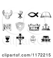 Clipart Of Black And White Dove Chi Ro Fish Bible INRI Trinity Christogram Cross Communion Cup And Ark Christian Icons Royalty Free Vector Illustration