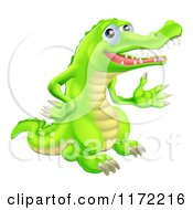 Cartoon Of A Presenting Green Crocodile Royalty Free Vector Clipart by AtStockIllustration
