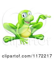 Cartoon Of A Happy Green Frog Crouching And Pointing To The Side Royalty Free Vector Clipart by AtStockIllustration