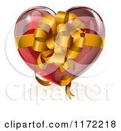 Clipart Of A 3d Glossy Red Heart With A Gold Bow And Ribbon Royalty Free Vector Illustration