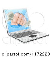 Clipart Of A Fist With Money Punching Through A Laptop Computer Royalty Free Vector Illustration