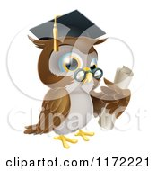 Cartoon Of A Professor Owl Wearing A Graduation Cap And Holding A Certificate Royalty Free Vector Clipart by AtStockIllustration