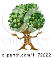 Cartoon Of A Happy Tree Mascot Royalty Free Vector Clipart