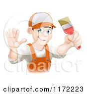 Cartoon Of A Friendly Male House Painter Holding A Brush And Waving Royalty Free Vector Clipart by AtStockIllustration