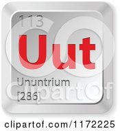 Clipart Of A 3d Red And Silver Ununtrium Chemical Element Keyboard Button Royalty Free Vector Illustration